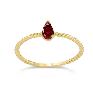 Dainty Genuine Garnet Pear Shape Rope Ring in Yellow Gold
