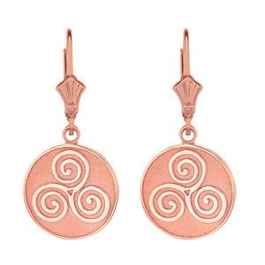 14k Solid Rose Gold Celtic Triple Spiral Triskele Irish Knot Disc Earring Set