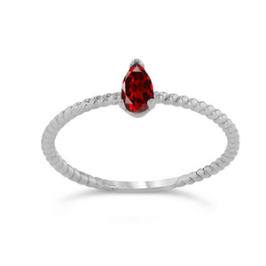 Dainty Genuine Garnet Pear Shape Rope Ring in White Gold
