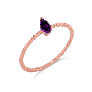 Dainty Genuine Amethyst Pear Shape Rope Ring in Rose Gold