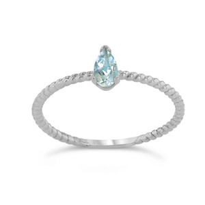 Dainty Genuine Aquamarine Pear Shape Rope Ring in White Gold