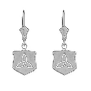 14K Solid White Gold Trinity Shield Triquetra Celtic Knot Earring Set