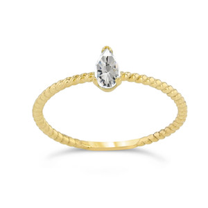 Dainty CZ Pear Shape Rope Ring in Yellow Gold