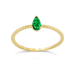 Dainty Genuine Emerald Pear Shape Rope Ring in Yellow Gold
