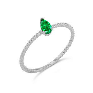 Dainty Genuine Emerald Pear Shape Rope Ring in White Gold