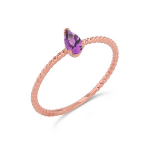 Dainty  (LCAL) Alexandrite Pear Shape Rope Ring in Rose Gold