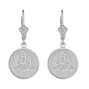 14k Solid White Gold Triquetra Irish Celtic Disc Circle Earring Set