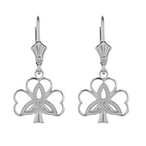 14K Solid White Gold Triquetra Irish Celtic Clover Earring Set