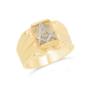 Men's Two-Tone Yellow Gold Masonic Ring