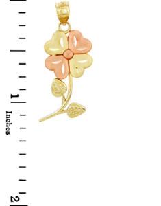 Gold Pendants - Two Tone Gold Flower Pendant