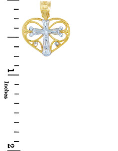 Gold Pendants - Two Tone Gold Heart Pendant with White Gold Cross