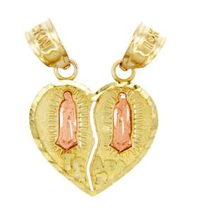 Gold Pendants - Two Tone Guadalupe Te Amo Breakable Gold Heart Pendant