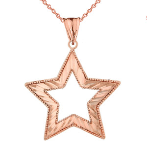 Chic Sparkle Cut Star Pendant Necklace in Rose Gold