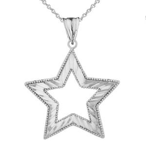 Chic Sparkle Cut Star Pendant Necklace in White Gold