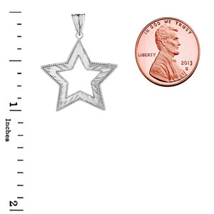 Chic Sparkle Cut Star Pendant Necklace in Sterling Silver