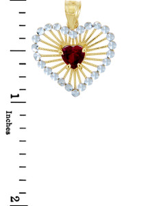 Gold Pendants - Red Heart Two Tone Gold Pendant