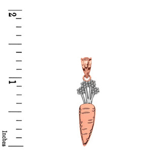 Solid Two Tone Rose Gold Carrot Vegetable Pendant Necklace