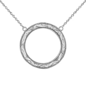 Chic Sparkle Cut Circle of Life Necklace in Sterling Silver