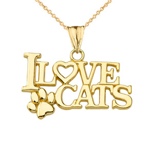 """""""I Love Cats"""" Pendant Necklace in Yellow Gold"""