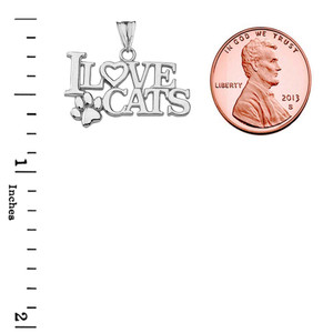 """I Love Cats"" Pendant Necklace in White Gold"