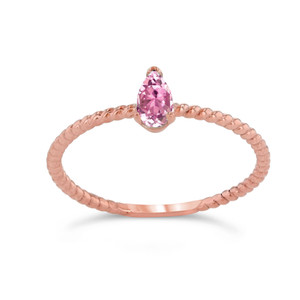 Dainty Pink CZ Pear Shape Rope Ring in Rose Gold