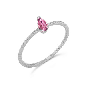 Dainty Pink CZ Pear Shape Rope Ring in White Gold