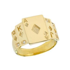 """Ace of Diamonds"" Royal Flush Diamond Ring in Yellow Gold"