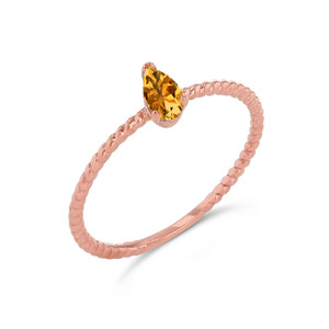 Dainty Genuine Citrine Pear Shape Rope Ring in Rose Gold