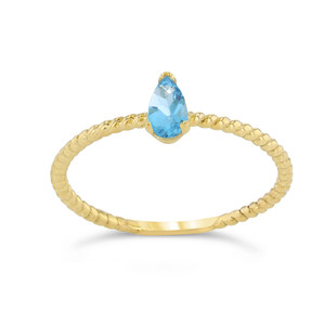 Dainty Genuine Blue Topaz Pear Shape Rope Ring in Yellow Gold