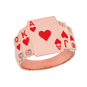 """""""Ace of Hearts"""" Royal Flush Diamond Ring in Rose Gold with Red Hearts"""