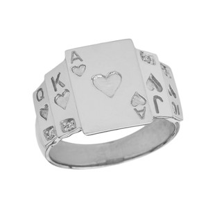 """""""Ace of Hearts"""" Royal Flush Diamond Ring in White Gold"""