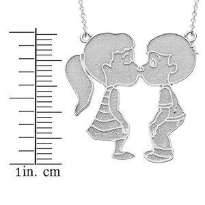 14k Solid White Gold Boy Girl Kissing Lovers Necklace