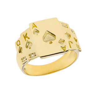 """""""Ace of Spades"""" Royal Flush Diamond Ring in Yellow Gold"""
