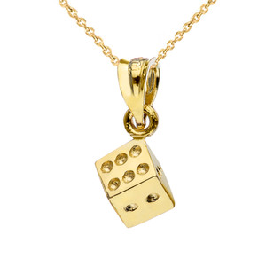 3D Playing Die Pendant Necklace in Yellow Gold