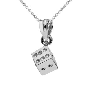 3D Playing Die Pendant Necklace in White Gold