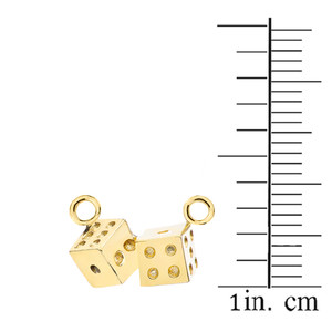 3D Playing Dice Necklace in 14K Yellow Gold