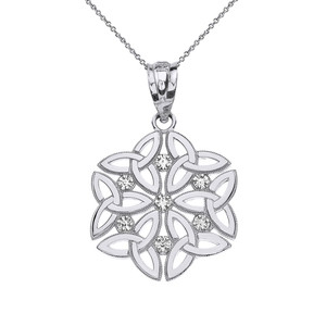 Diamond Triquetra Celtic Dara Endless Knot Pendant Necklace in Solid Gold (Yellow/Rose/White)