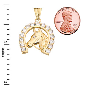 Lucky Horseshoe Statement Pendant Necklace in Yellow Gold