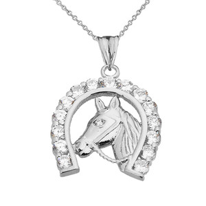 Lucky Horseshoe Statement Pendant Necklace in White Gold