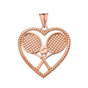Detailed Tennis Rackets in Heart Pendant Necklace in Rose Gold