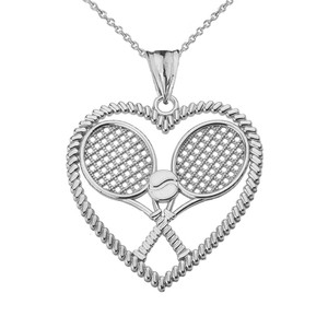 Detailed Tennis Rackets in Heart Pendant Necklace in White Gold