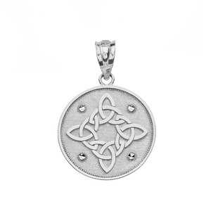 Solid White Gold Diamond Cut Celtic Trinity Knot Circle Pendant Necklace