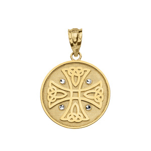 Diamond Cut Celtic Knot Cross Disc Medallion Pendant Necklace in Gold (Yellow/Rose/White)