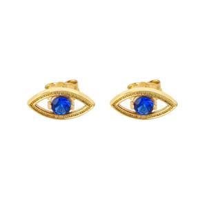 Evil Eye Stud Earrings in Yellow Gold
