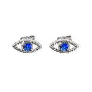 Evil Eye Stud Earrings in White Gold