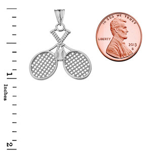 Detailed Tennis Rackets Pendant Necklace in White Gold