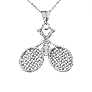 Detailed Tennis Rackets Pendant Necklace in Sterling Silver