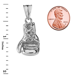 Boxing Glove Pendant Necklace in White Gold