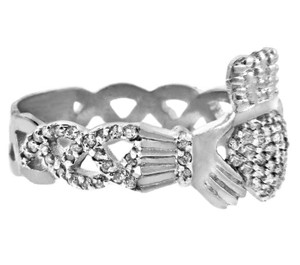 Gold Claddagh Rings - White Gold Diamond Claddagh Ring 0.50 Carats