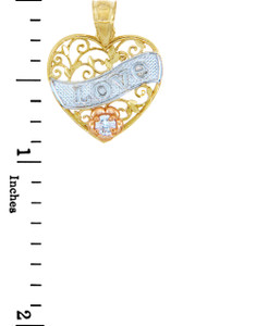 Valentines Special Heart  - Gold Love Banner Pendant with CZ